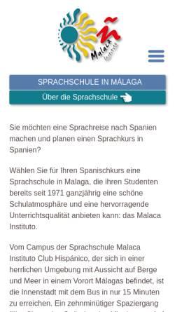 Vorschau der mobilen Webseite www.spanisch-lernen-in-spanien.de, Spanischkurse in Malaga