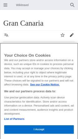 Vorschau der mobilen Webseite wikitravel.org, Gran Canaria Reiseführer – Wikitravel