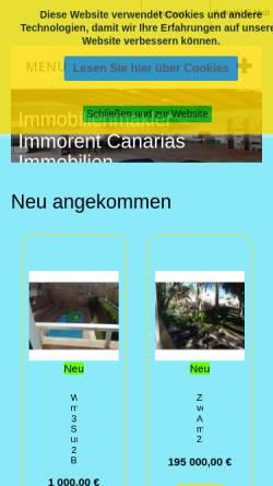 Vorschau der mobilen Webseite immorent-canarias.com, Immorent Canarias