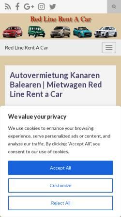 Vorschau der mobilen Webseite redline-rentacar.com, Redline Rentacar