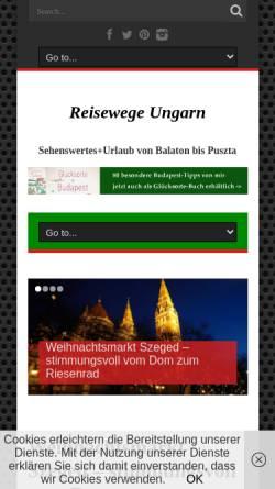 Vorschau der mobilen Webseite reisewege-ungarn.de, Reisewege Ungarn