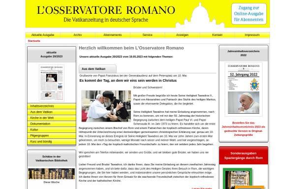 Vorschau von osservatore-romano.de, L'Osservatore Romano