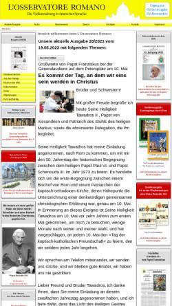 Vorschau der mobilen Webseite osservatore-romano.de, L'Osservatore Romano