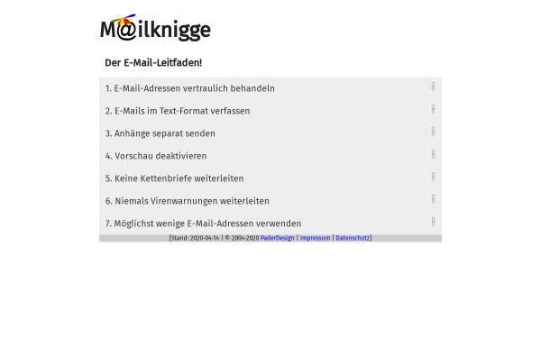 Vorschau von www.mailknigge.de, Mailknigge - Deutschlands Leitfaden zum richtigen Mailen