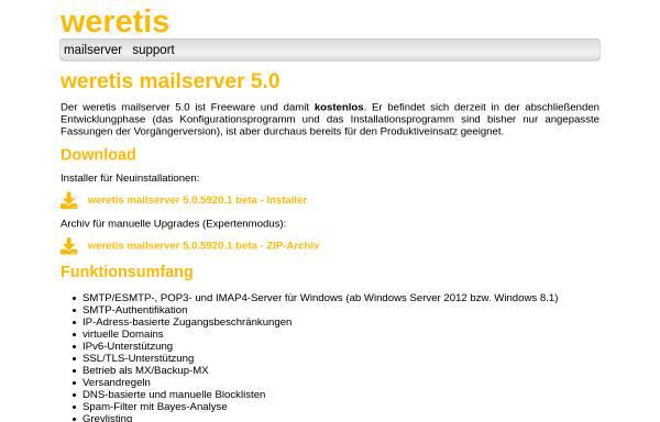 Vorschau von www.weretis.de, weretis mailserver