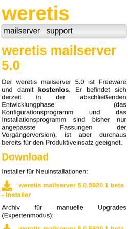 Vorschau der mobilen Webseite www.weretis.de, weretis mailserver
