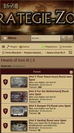 Vorschau der mobilen Webseite www.strategie-zone.de, Hearts of Iron 3 - Strategie-Zone