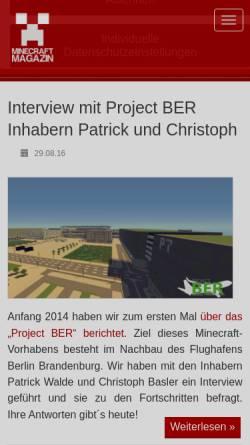 Vorschau der mobilen Webseite www.minecraft-spielen.com, Minecraft Magazin