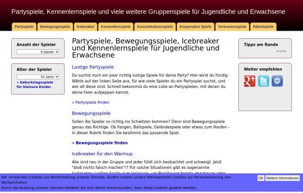Vorschau von www.lustige-partyspiele.de, Partyspiele und Geburtstagsspiele für Kinder und Erwachsene