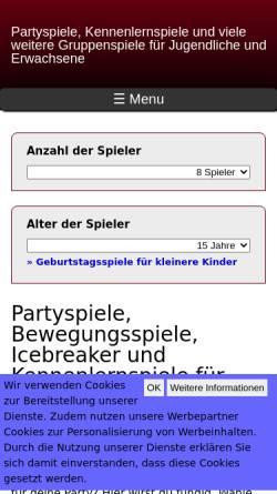 Vorschau der mobilen Webseite www.lustige-partyspiele.de, Partyspiele und Geburtstagsspiele für Kinder und Erwachsene