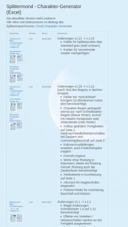 Vorschau der mobilen Webseite berneburg.de, Charakter-Generator (Excel)