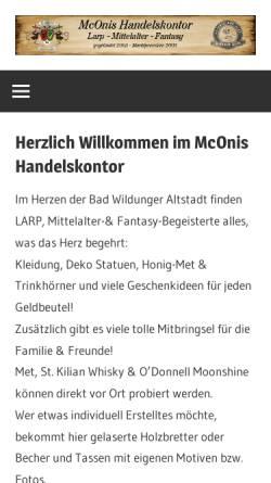 Vorschau der mobilen Webseite www.mconis.de, McOnis Handelskontor