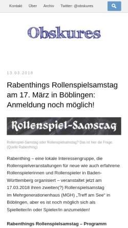 Vorschau der mobilen Webseite obskures.de, Obskures.de