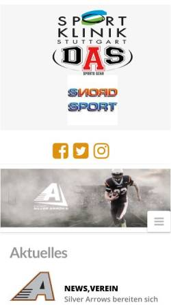Vorschau der mobilen Webseite www.silverarrows.de, AFC Stuttgart Silver Arrows e.V.