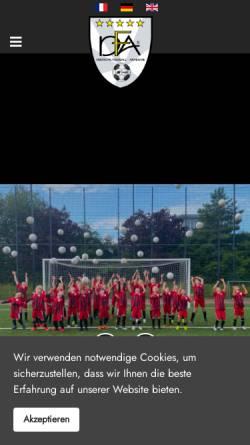 Vorschau der mobilen Webseite www.dfa-web.de, Deutsche Fussball-Akademie Gesellschaft für Kinder- und Jugendfußball mbH