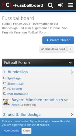 Vorschau der mobilen Webseite www.fussballboard.de, Fussballboard.de