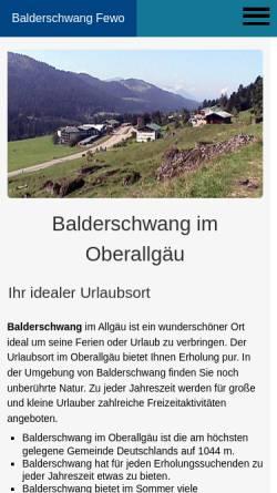 Vorschau der mobilen Webseite www.balderschwang-fewo.de, Ferienwohnung in Gschwend