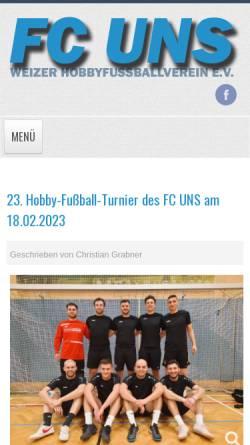 Vorschau der mobilen Webseite www.uns.at, FC UNS Weiz