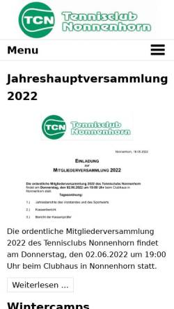 Vorschau der mobilen Webseite tc-nonnenhorn.de, Tennisclub Nonnenhorn e.V.