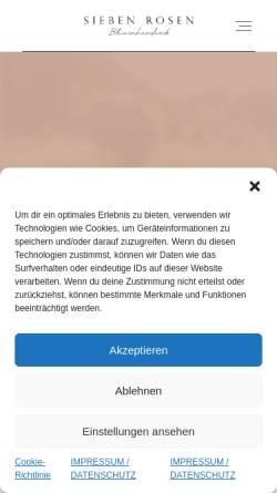 Vorschau der mobilen Webseite www.siebenrosen.de, Sieben Rosen - Floristik und Wohndesign