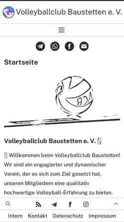 Vorschau der mobilen Webseite volleyball-baustetten.de, Volleyballclub Baustetten e.V.