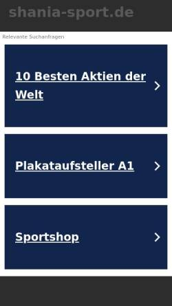 Vorschau der mobilen Webseite shania-sport.de, SV Shania Rostock e.V. - Rehasport für psychisch Kranke in Rostock