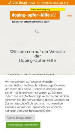 Vorschau der mobilen Webseite no-doping.org, Doping Opfer Hilfe e.V.