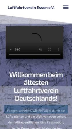 Vorschau der mobilen Webseite www.luftfahrtverein-essen.de, Luftfahrtverein Essen e.V.