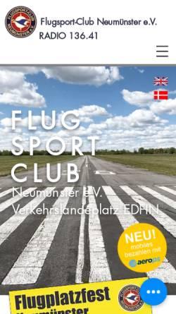 Vorschau der mobilen Webseite www.edhn.de, Flugsport-Club Neumünster