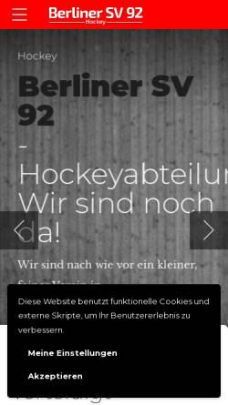 Vorschau der mobilen Webseite www.bsv92-hockey.de, Berliner Sportverein 92 Hockeyabteilung