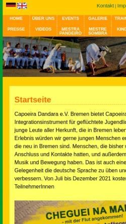 Vorschau der mobilen Webseite www.capoeira-dandara.de, Capoeira Dandara e.V.