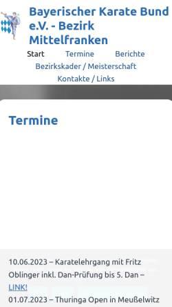 Vorschau der mobilen Webseite www.karate-mittelfranken.de, Bayerischer Karate Bund e.V. : Bezirk Mittelfranken