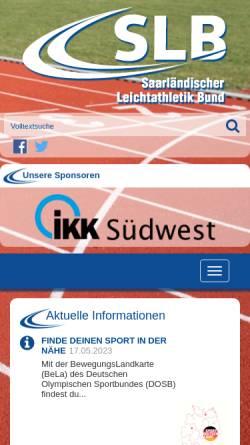 Vorschau der mobilen Webseite www.slb-saarland.com, Saarländischer Leichtathletik Bund