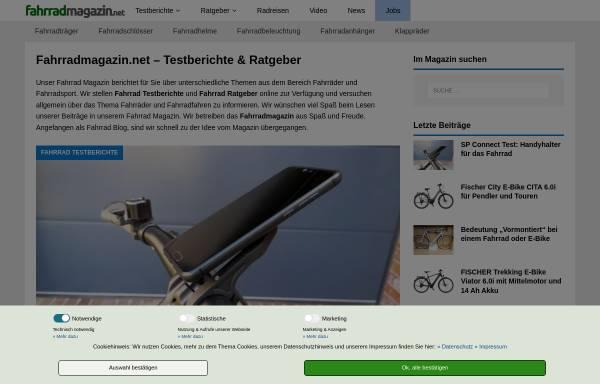 Vorschau von www.fahrradmagazin.net, Fahrrad Magazin mit Testberichten & Ratgebern