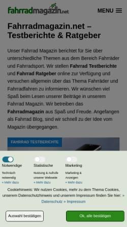 Vorschau der mobilen Webseite www.fahrradmagazin.net, Fahrrad Magazin mit Testberichten & Ratgebern