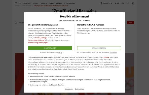 Vorschau von www.faz.net, FAZ: Zeitplan der Winterspiele in Sotschi