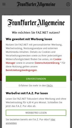 Vorschau der mobilen Webseite www.faz.net, FAZ: Zeitplan der Winterspiele in Sotschi