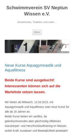 Vorschau der mobilen Webseite www.neptun-wissen.de, SV Neptun Wissen e.V.