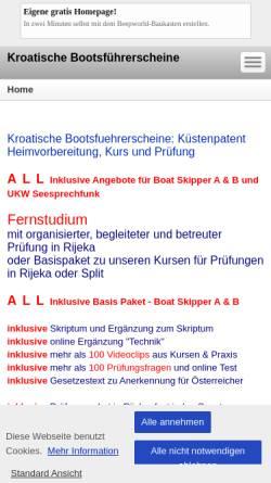 Vorschau der mobilen Webseite mag-seefahrtschule.beepworld.de, Kroatische Bootsführerscheine