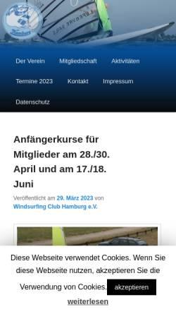 Vorschau der mobilen Webseite windsurfing-club-hamburg.de, Windsurfingclub Hamburg e.V.