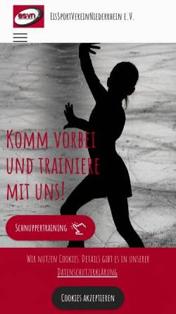 Vorschau der mobilen Webseite www.esv-n.de, Eissportverein Niederrhein e.V.
