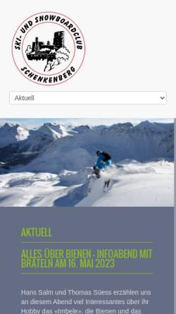 Vorschau der mobilen Webseite ssc-schenkenberg.ch, Ski- und Snowboardclub Schenkenberg