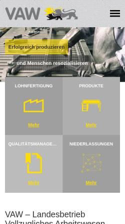 Vorschau der mobilen Webseite www.vaw.de, VAW – Landesbetrieb Vollzugliches Arbeitswesen
