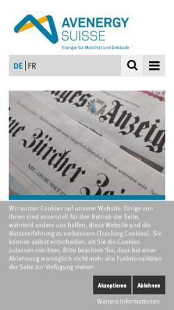 Vorschau der mobilen Webseite www.erdoel.ch, Erdöl-Vereinigung