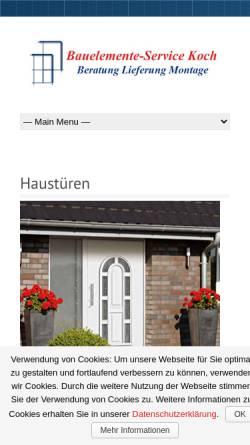 Vorschau der mobilen Webseite bauelemente-service-koch.de, Bauelemente Service Koch - Inh. Thomas Koch