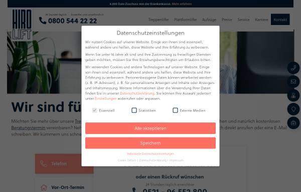 Vorschau von www.hiro.de, Hiro Lift Hillenkötter + Ronsieck GmbH