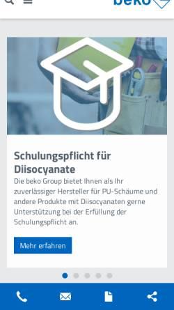 Vorschau der mobilen Webseite www.beko-group.com, Beko GmbH