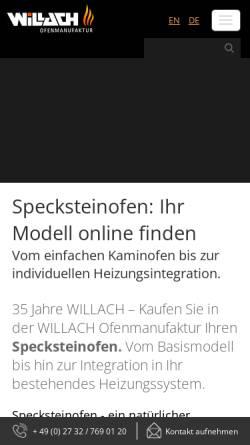 Vorschau der mobilen Webseite www.speckstein.de, Willach KG