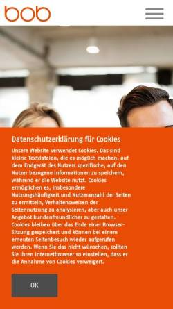 Vorschau der mobilen Webseite www.bob-ag.de, BOB AG
