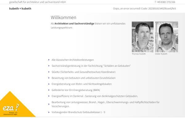 Vorschau von kubeth.com, Kubeth + kubeth | gesellschaft für architektur und sachverstand mbH